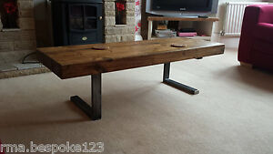 Image Is Loading Rustic Coffee Table In Chunky Design With Steel