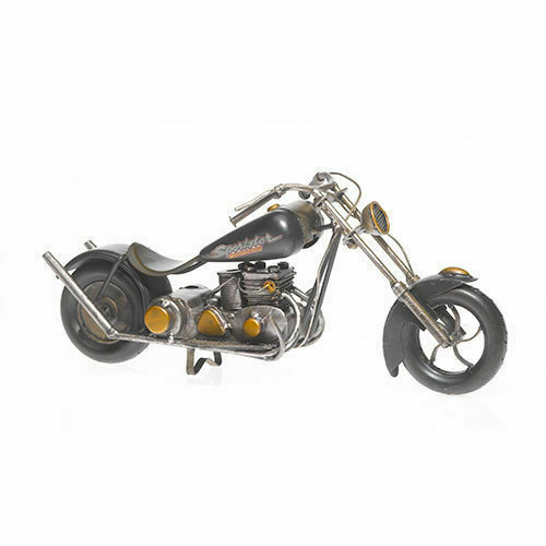 Blech-Modell Oldtimer Motorrad  Chopper schwarz schwarz schwarz  ca. 37cm bb5ba9