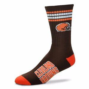 Cleveland-Browns-For-Bare-Feet-NFL-4-Stripe-Deuce-Crew-Socks-SZ-M