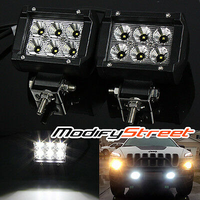 "2PC 4"" 18W 1800 LUMEN 6 CREE LED OFF ROAD FLOOD LIGHT BAR ROOF/TRUNK/WORK LAMP"