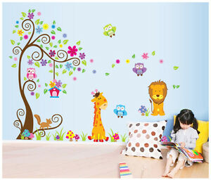 wandsticker wandtattoo deko wald l we tiere kinder kinderzimmer baum xxl df5210 ebay. Black Bedroom Furniture Sets. Home Design Ideas