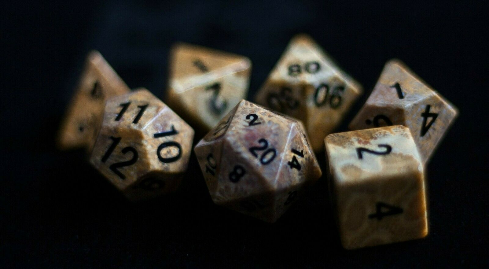 Coral Fossil  Full-Sized 16mm Polyhedral Dice Set