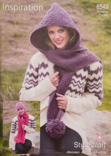 Stylecraft Knitting Pattern 8549 Ladies Hat Scarf Hooded Scarf Pom Pom Chunky