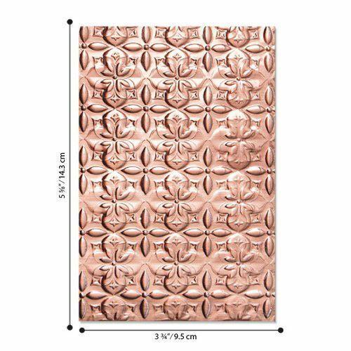 3-D Textured Impressions Embossing Folder Adorned Tile 664426 Jen Long Sizzix