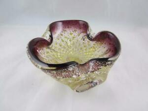 Vintage-Murano-Italian-Venetian-Purple-amp-Clear-Bowl-w-Bubbles-amp-Gold-Aventurine