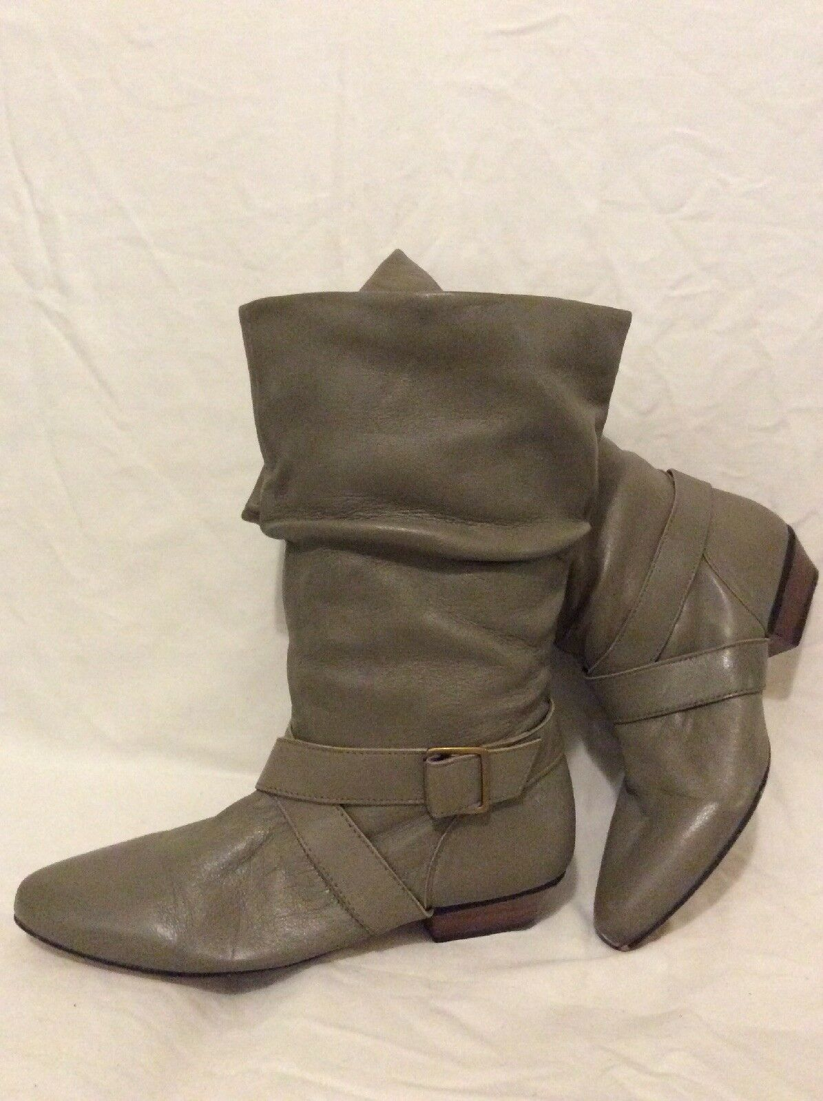 Bhs Grey Mid Calf Leather Boots Size 6