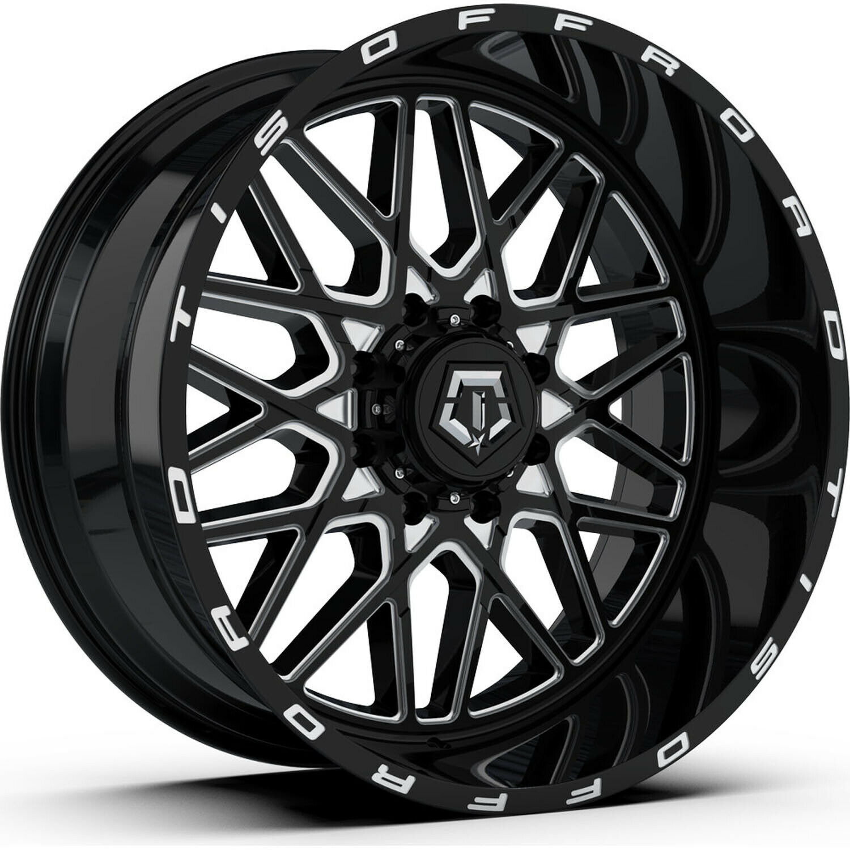 TIS 544MB 22x12 6x135//6x139.7-44et Machined Gloss Black Wheel