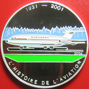 2004-CONGO-1000-FRANCS-SILVER-PROOF-COLORED-BAC-111-BAC-ONE-ELEVEN-BRITISH-JET