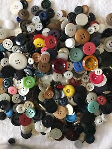 Vtg-Old-Buttons-Lot-Of-150-Mixed-Colors-Sizes-Includes-Brights-Sewing-Crafts
