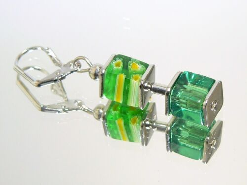 Ohrschmuck Ohrhänger Ohrringe  Würfel Glas Millefiori Grün  Länge  Auswahl 092L
