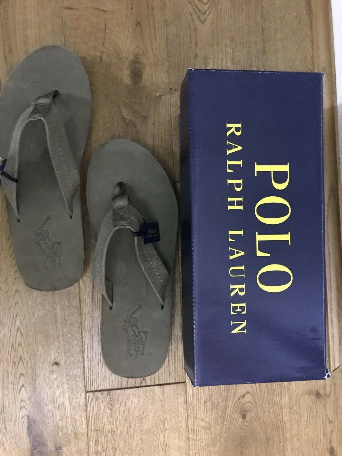 BNIB POLO FLIP RALPH LAUREN EDGEMONT SANDALS FLIP POLO FLOPS IN OLIVE LEATHER SIZE UK 9 3f5a5c