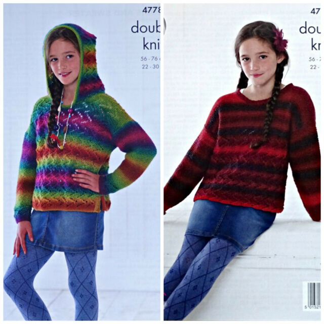 2101e5ce1 KNITTING PATTERN Girls Long Sleeved Lace Hoodie or Jumper Riot DK KingCole  4778