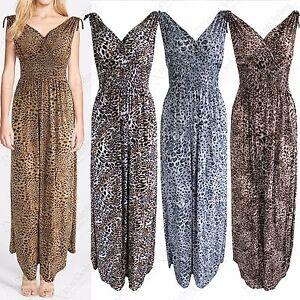 NEW-LADIES-LEOPARD-ANIMAL-PRINT-V-NECK-MAXI-DRESS-LONG-WOMENS-GRECIAN-LOOK-DRESS