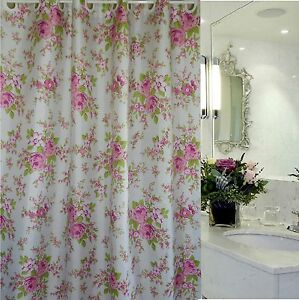 Image Is Loading Country Rose US Style Hookless Fabric Shower Curtain