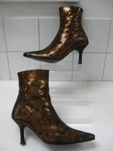 Ladies CARVELA gold bronze shiny ANKLE BOOTS size stiletto pointy steampunk