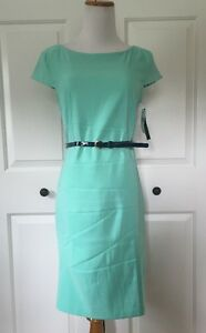 Womens-AB-Studio-Pencil-Dress-Belted-Short-Sleeve-6-Mint-Green-New-With-Tags