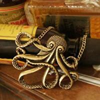 Steampunk Fashion Jewelry Vintage Bronze Octopus Long Pendant Chain Necklace