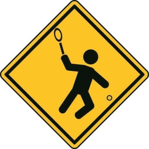 Autocollant Attention Tennis 8 x 8 cm des autocollants autocollant
