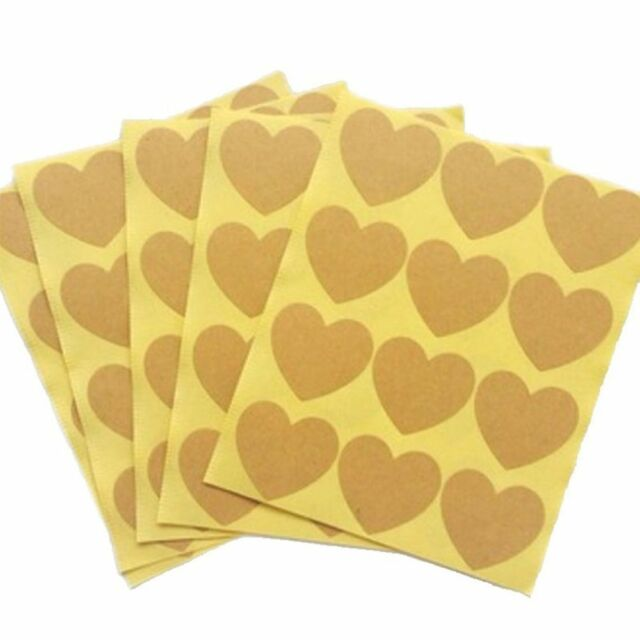 Bag Gift Baking Love 120pcs 10 Sheets Brown Kraft Paper Sticker Heart Shape