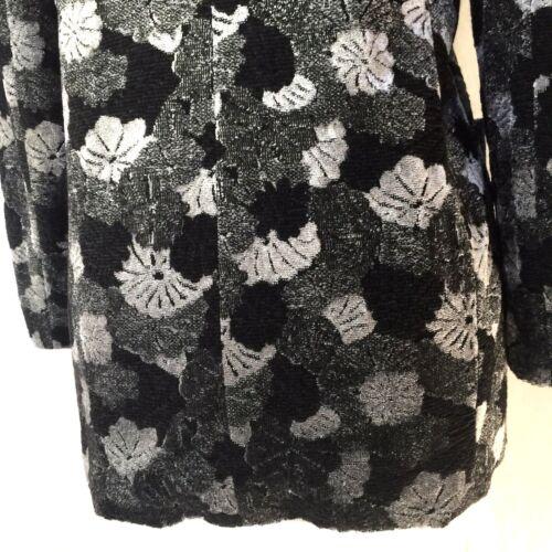 Sleeve Gray Blazer Emanuel Ungaro 48 Xxl Black Jacket Xl 14 Long Velvet Floral YqpRxfR