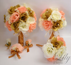 17 piece package wedding bridal bouquet silk flowers gold peach image is loading 17 piece package wedding bridal bouquet silk flowers mightylinksfo