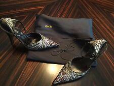 Fendi Jeweled With Swarovski Multicolored Crystals Sling back Shoes Size 36