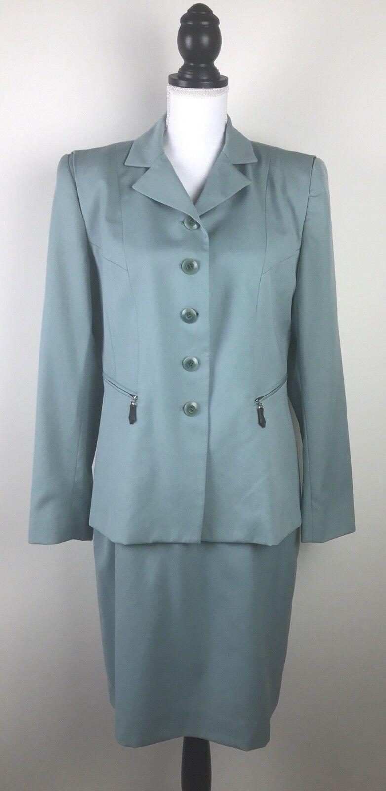 CARLISLE Women's Wool Suit 2-Piece Sz 10 Green Lined Skirt Blazer 100% Wool  250