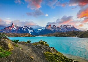 A1-Pehoe-Lake-Poster-Art-Print-60-x-90cm-180gsm-Patagonia-Chile-Gift-12645