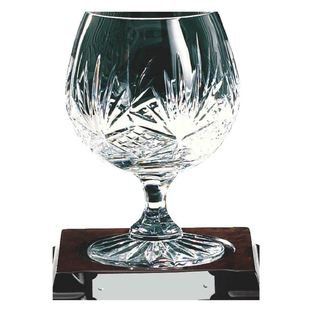 Brandy Glasses Crystal cup on wood stand ,gift, ,FREE Engraving (KL441)TWT