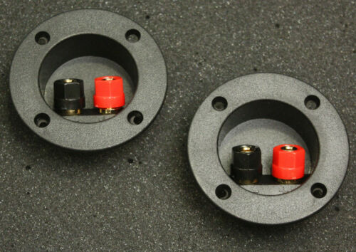 Speaker Terminals w Gaskets Round Set Of Two Gold Post Very  Sub Box Home Audio