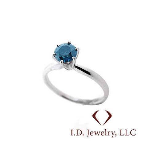 0.81CT Round Cut bluee Diamond Ring  14K  J7387