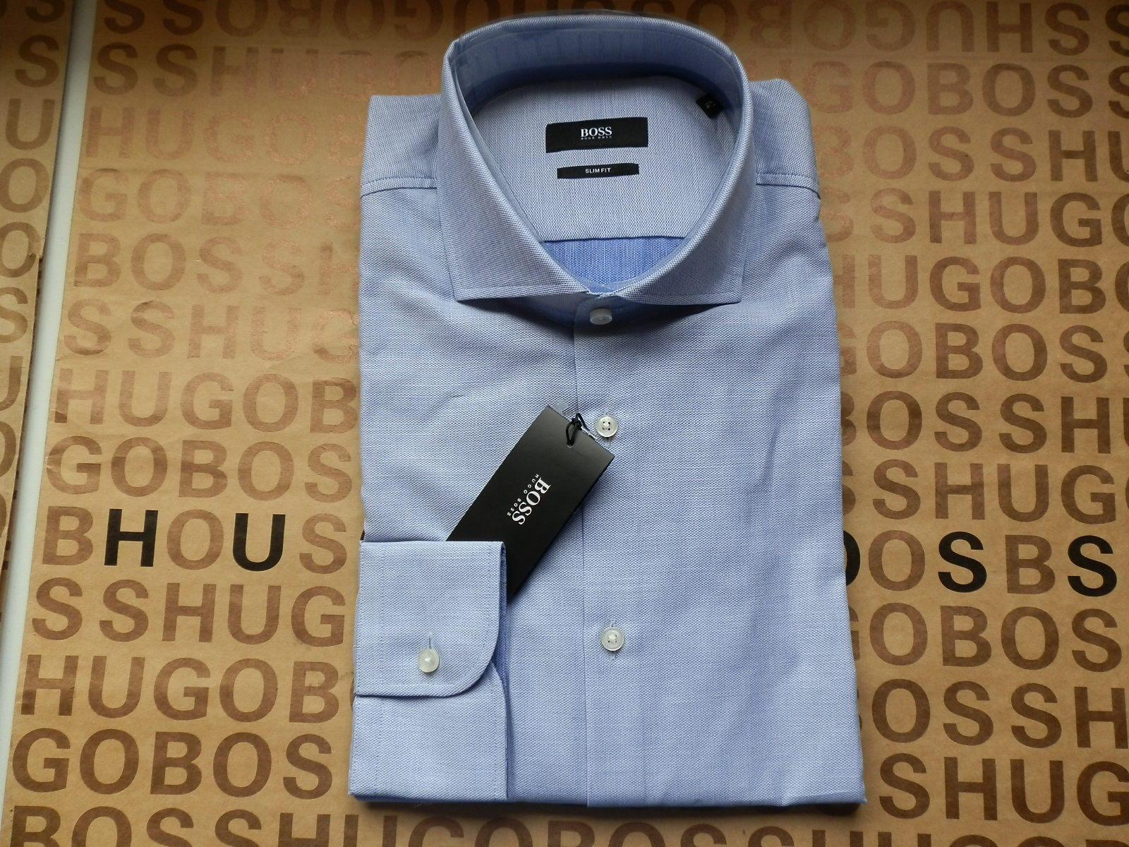 NEW HUGO BOSS MENS Blau SLIM FIT DESIGNER FORMAL SMART SUIT COTTON SHIRT 16 41     | Outlet Online Store