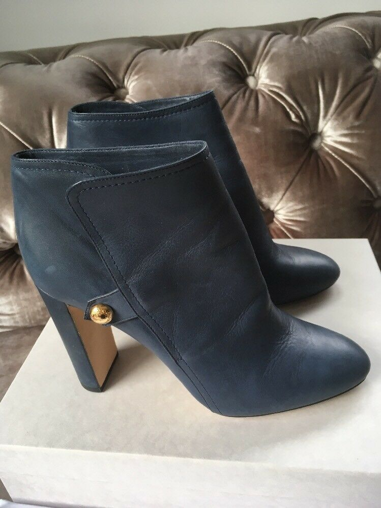 JIMMY CHOO 'Medal 85' Ankle Boots Stormy Blue Waxed Leather Uk 7 Eu 40