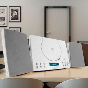 Stereoanlage-Musikanlage-Radio-Wecker-Uhr-CD-Player-AUX-Kompaktanlage-weiss