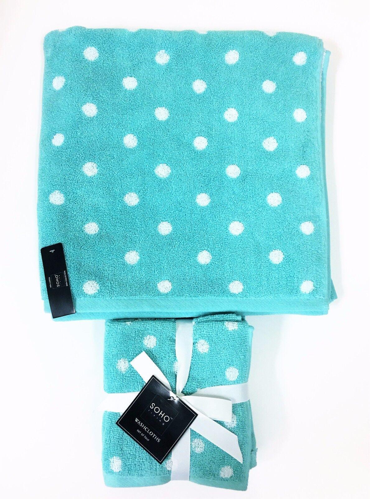 Neu 5 Teile Set Soho Blaugrün  Weiß Gepunktet, 1 Badetuch  4 Wasch Tuch | München Online Shop