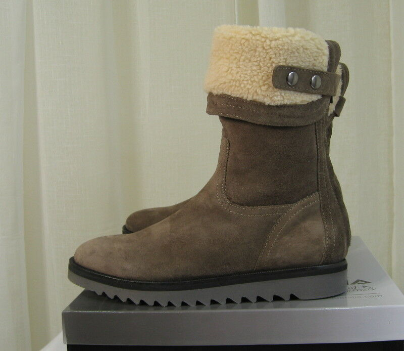NEW Aquatalia Perdi Weatherproof Taupe Taupe Taupe Suede Faux-Fur Cuff Ankle Stiefel US 9 + Zip ae4a28