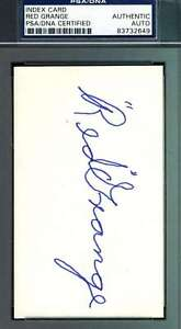 Red Grange Signed Psa/dna Coa 3x5 Index Card Authentic Autograph