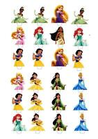 24 Disney Princess STAND UP Cupcake Fairy Cake Toppers Edible Rice Decorations