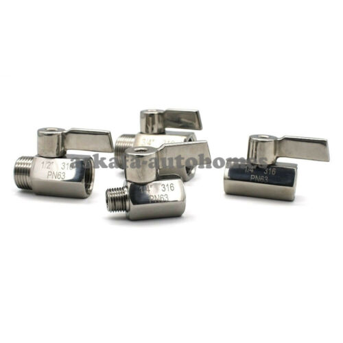 Stainless Steel 316 1//8 1//4 3//8 1//2 3//4 1 Male Female BSP Thread Mini Ball Valve