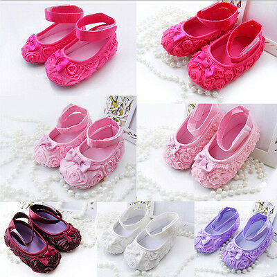 Baby Infant Girls Mary Jane Princess Rose Flower Shoes Soft Sole 11~13cm