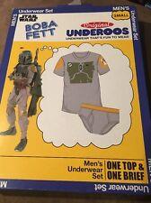 NWT Men's Size Small Star Wars Boba Fett Original Underoos Underwear Set