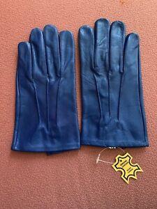 Men's Blue leather Dress Gloves  Size X-Large
