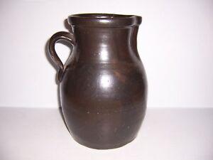 Antique-Brown-Stoneware-Crock-Jug-Pitcher-11-034-Tall