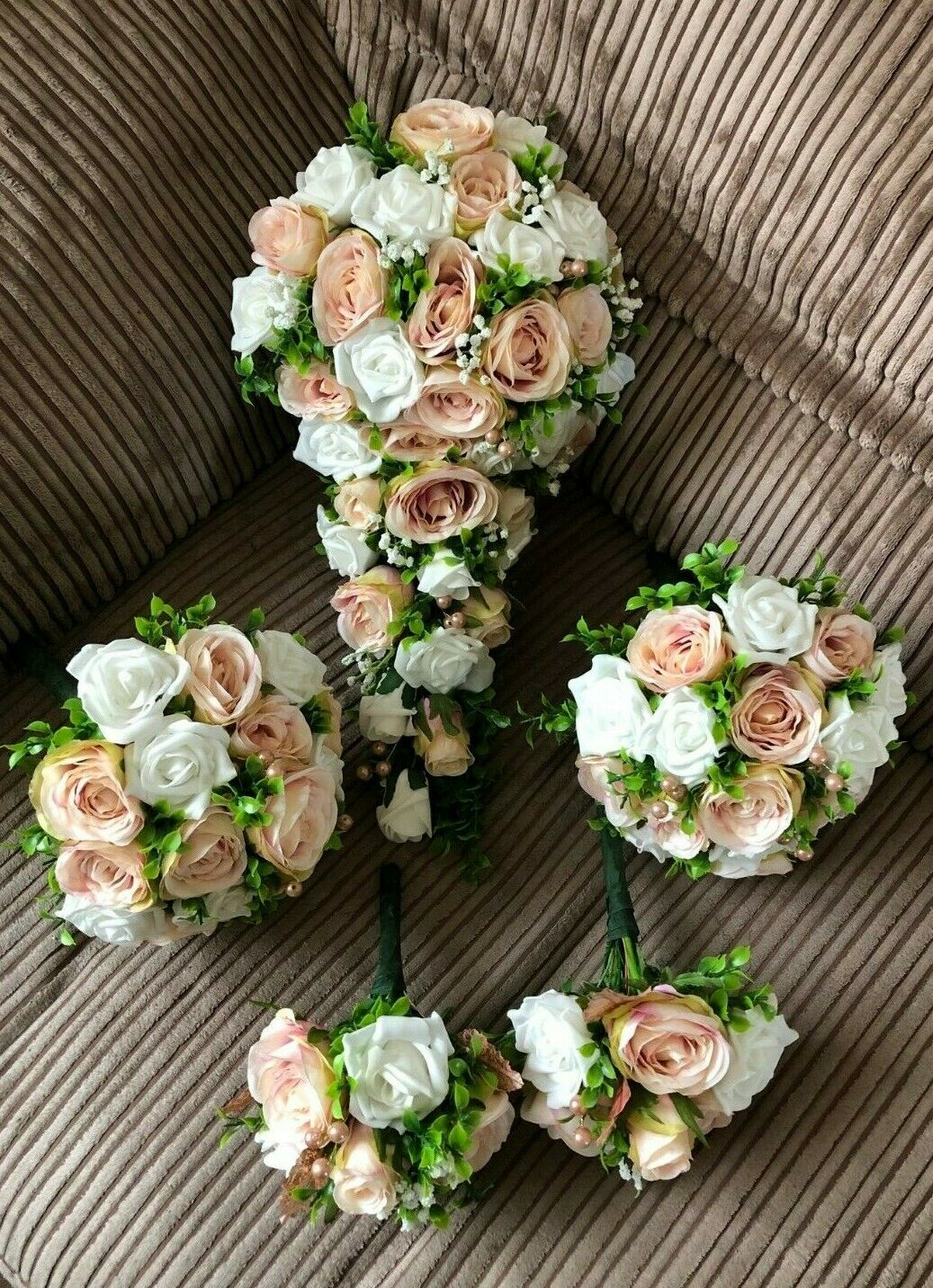 Silk Wedding Fleurs XL bridal bouquet fleur Paquet bleush Rose & Blanc