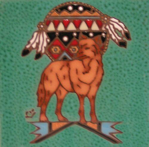 Wolf  6x6 ceramic hand glazed Earthtones trivet tile