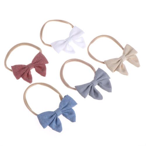 5pcs//lot 5colors Handmade Newborn Kids Bow Nylon Headbands Soft Elastic Headwear