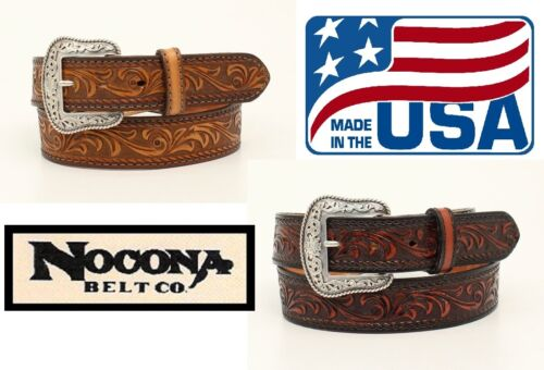 *MADE IN USA!* ~ TOOLED Leather ~MAN/'S WESTERN BELT~ Silver Buckle NOCONA N23001