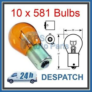 10-x-MIE-581-AMBER-ORANGE-INDICATOR-CAR-BULBS-12V-21W-BAU15S-OFF-SET-PINS