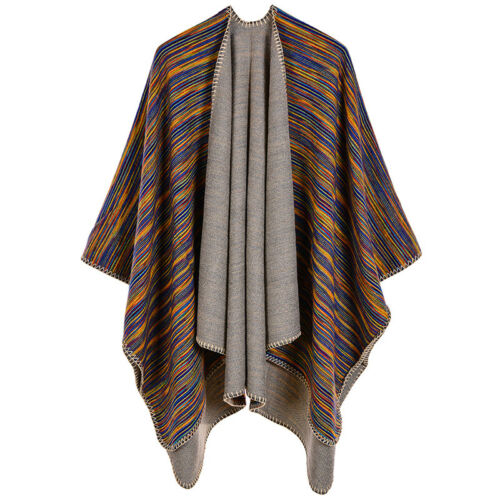 Women Winter Striped Pashmina Poncho Capes Shawl Cardigans Scarf Scarves G8I8