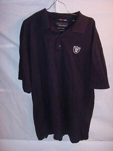 NFL-RAIDERS-Black-Golf-Shirt-Greg-Norman-50-2-Double-Mercerized-Mens-Large